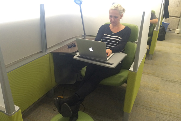 Azel Mulagulova works on her readings in a study pod at the iSchool