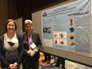 Dr. Lisa Quirke (right) and Lynne Howarth (left) at the Show, Tell, Bridge poster session