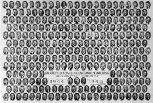 Picture of the Faculty of Applied Science and Engineering 1944-45.